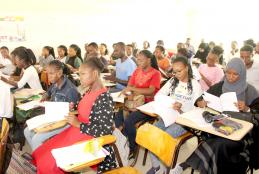 Students follow proceedings during the induction.